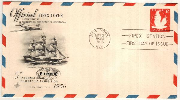 1956 6c Air Post Envelope, red