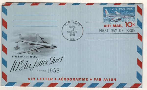 1958-59 10c Air Post Envelope, blue & red
