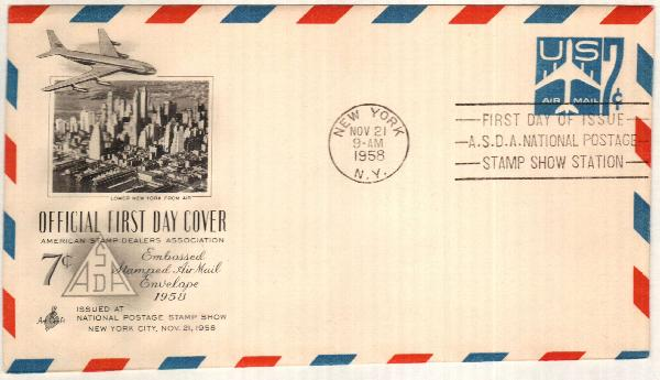 1958 7c Air Post Envelope, blue