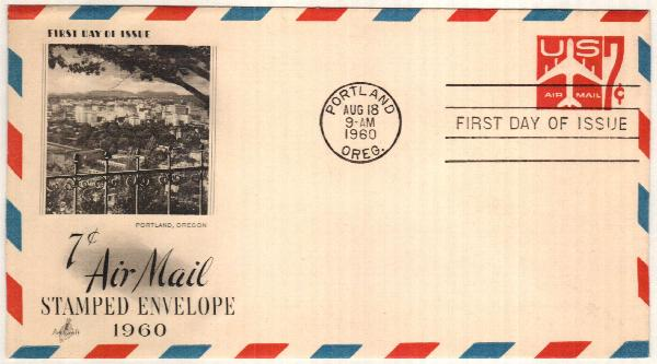 1958 7c Air Post Envelope, carmine