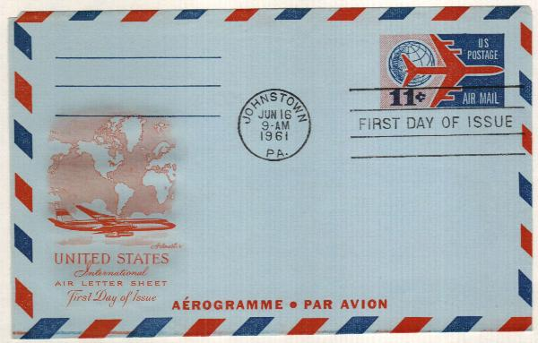 1961 11c Air Post Envelope, red & blue