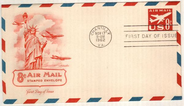 1962 8c Air Post Envelope, red