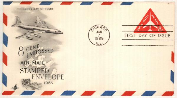 1965-67 8c Air Post Envelope, red