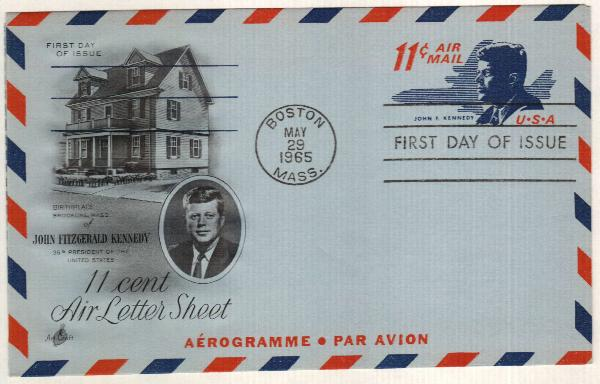1965 11c Air Post Envelope, red & dark blue