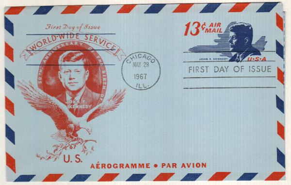1967 13c Air Post Envelope, red & dark blue