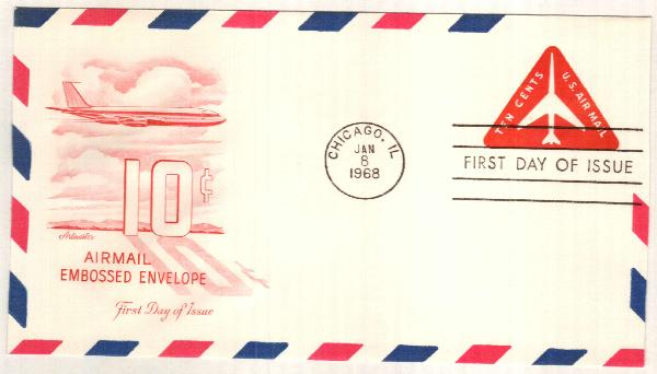 1968 10c Air Post Envelope, red