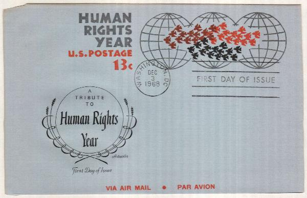 1968 13c Air Post Envelope - Human Rights Year