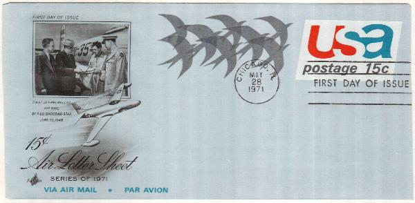 1971 15c Air Post Envelope - Birds in Flight