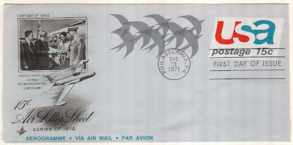 1971 15c Air Post Envelope - Birds in Flight, 'AEROGRAMME' inscription
