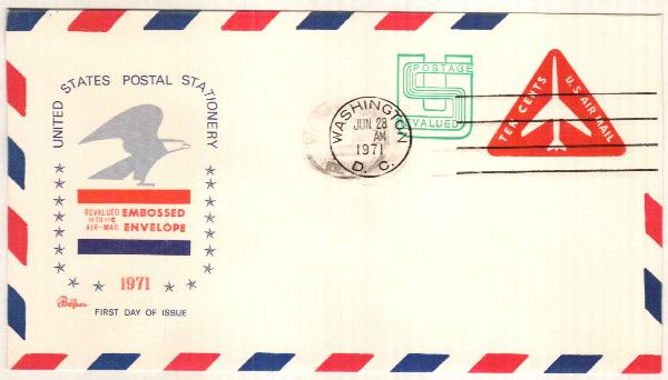 1971 10c + 1c surcharge Air Post Envelope, red