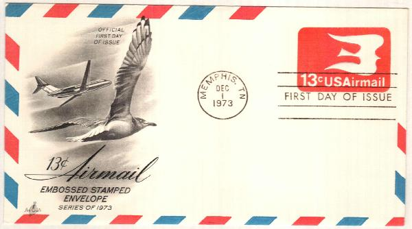 1973 13c Air Post Envelope, rose red