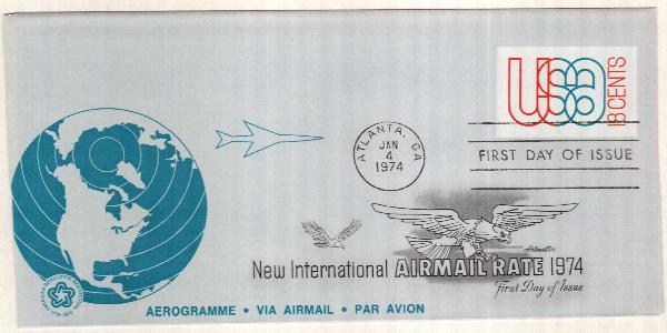 1974 18c Air Post Envelope, red & blue