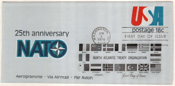 1974 18c Air Post Envelope, red & blue NATO emblem