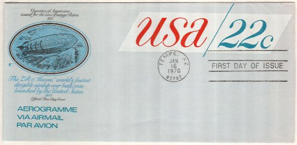 1976 22c Air Post Envelope, red & blue