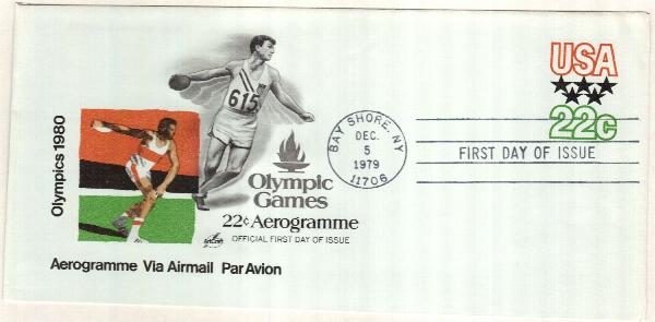 1979 22c Air Post Envelope - Moscow Olympics