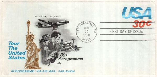 1981 30c Air Post Envelope - Tour the United States