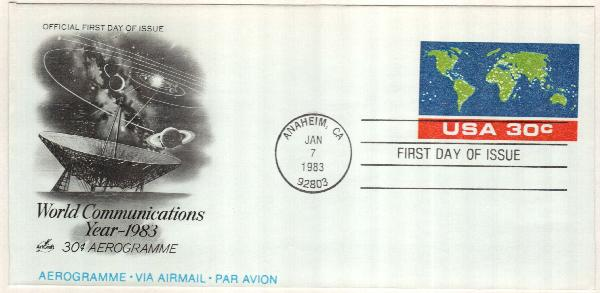1983 30c Air Post Envelope - World Communications Year