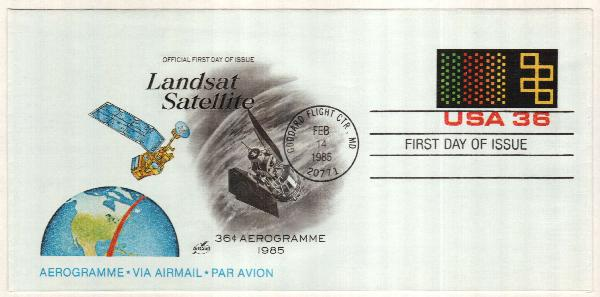 1985 36c Air Post Envelope - Landsat