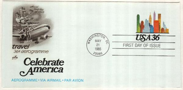 1985 36c Air Post Envelope - Travel