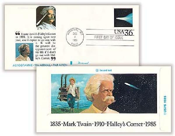 1985 36c Air Post Envelope - Halleys Comet/Mark Twain