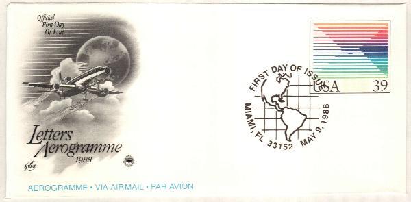 1988 39c Air Post Envelope, multi