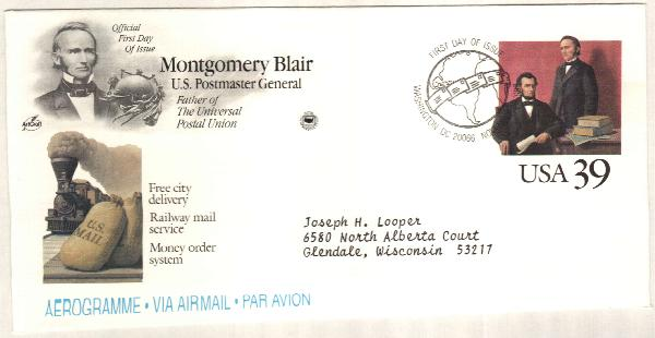1989 39c Air Post Envelope - Postmaster Blair
