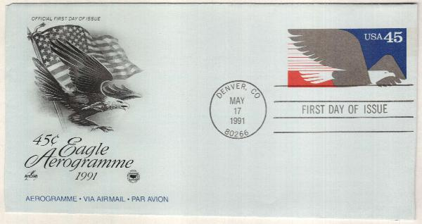 1991 45c Air Post Envelope -  Eagle