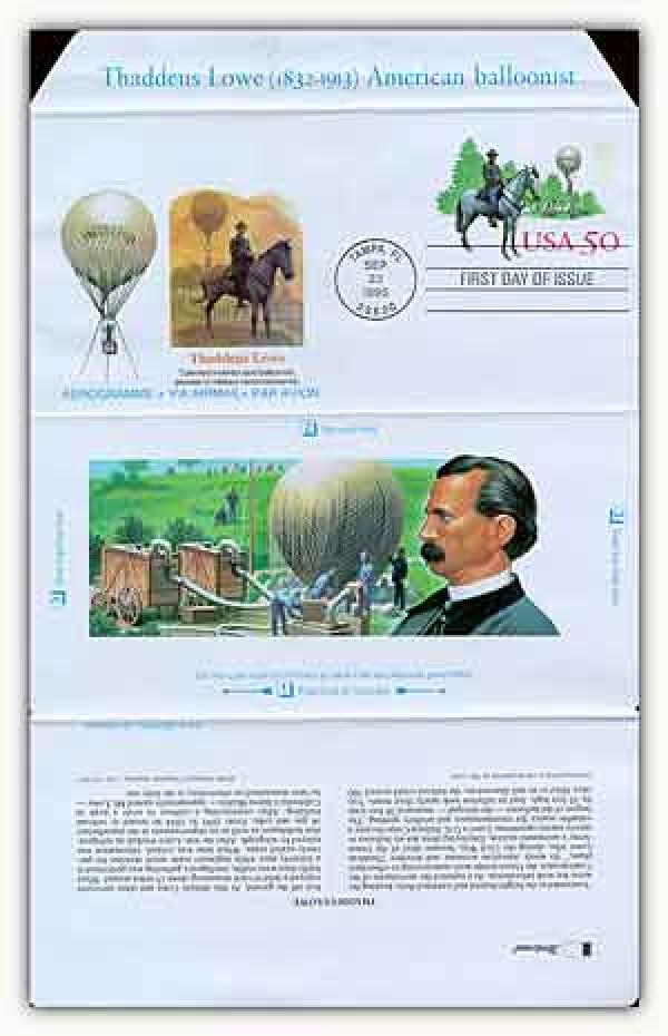 1995 50c Air Post Envelope - Thaddeus Lowe