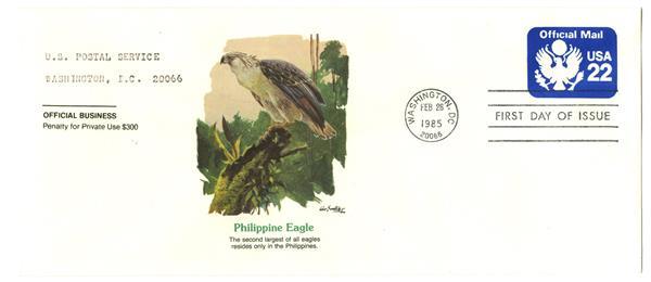 1987 22c Official Mail Env.(Blue stamp)