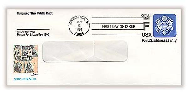 1991 F (29c) Savings Bond Prestamped Envelope