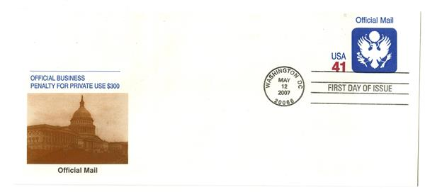 2007 41c Official Mail Stamped Envelope
