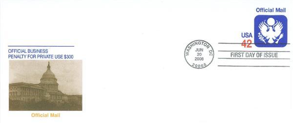 2008 42c Official Stamped Envelope