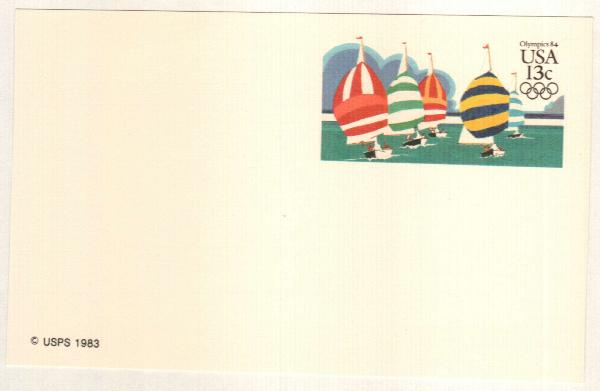 US 1983 13c Summer Olympics Postal Card