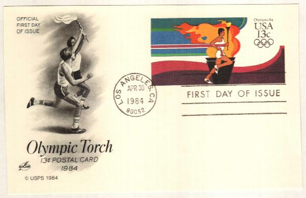 US 1984 13c Summer Olympics Postal Card