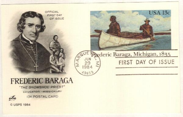 US 1984 13c Frederic Baraga Postal Card
