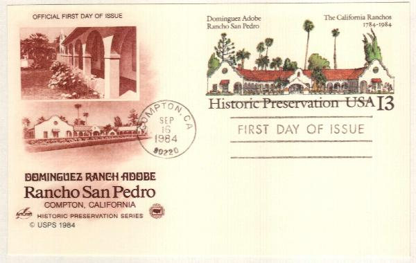 US 1984 13c Dominguez Adobe Postal Card
