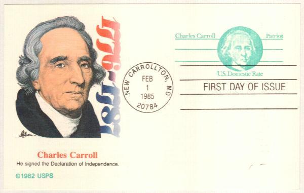 US 1985 Non-denom Charles Carroll Postal