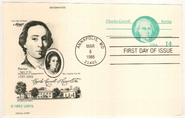 US 1985 14c Charles Carroll Postal Card