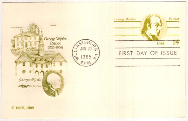 US 1985 14c George Wythe Postal Card