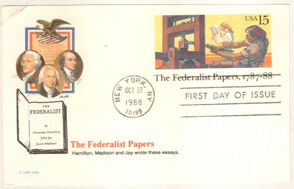 U.S. #UX126 – Federalist Papers First Day Postal Card.