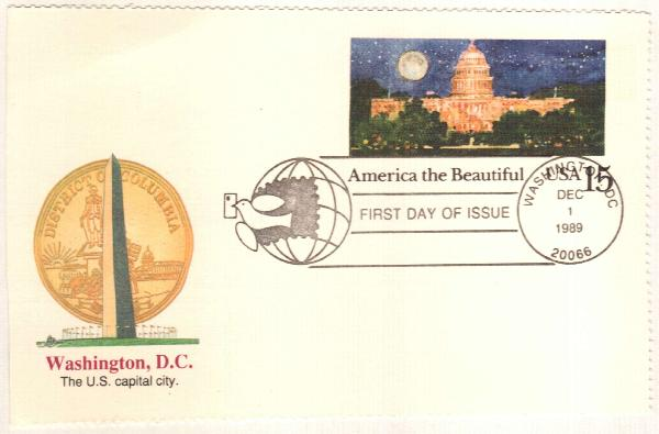 15c 1989 Capitol Dome FDC PC