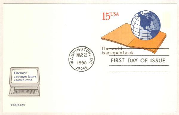 1990 15c Literacy Postal Card
