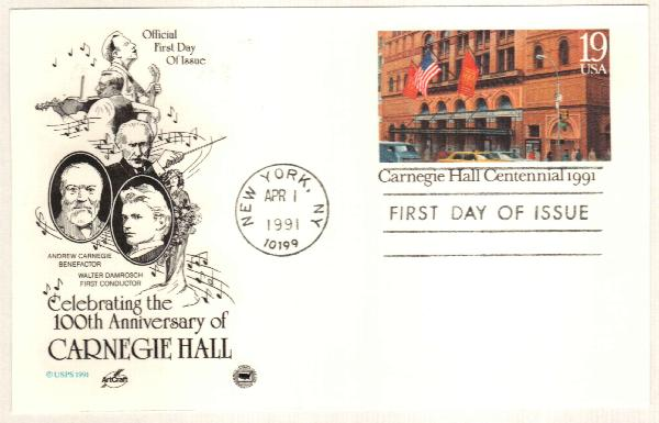 U.S. #UX154 – Postal card marking 100th anniversary of Carnegie Hall.
