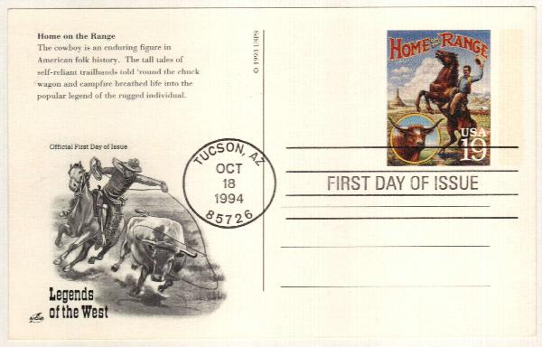 1994 19c Home on the Range Postal Card