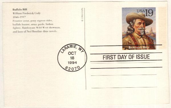1994 19c Buffalo Bill Postal Card