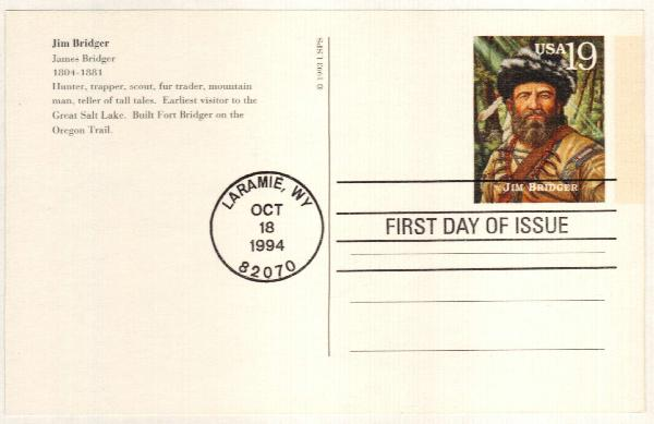 1994 19c Jim Bridger Postal Card