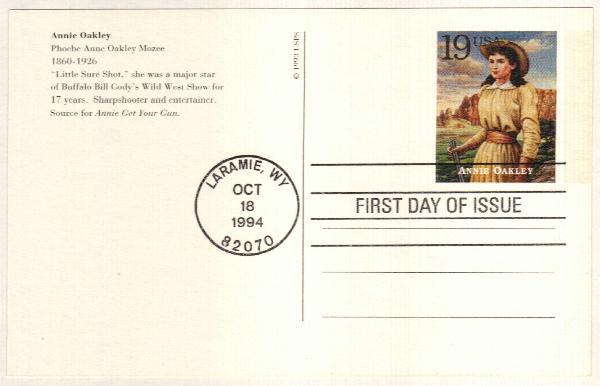 1994 19c Annie Oakley Postal Card
