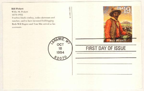 1994 19c Bill Pickett (rev) Postal Card