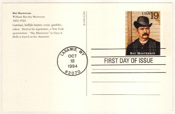 1994 19c Bat Masterson Postal Card