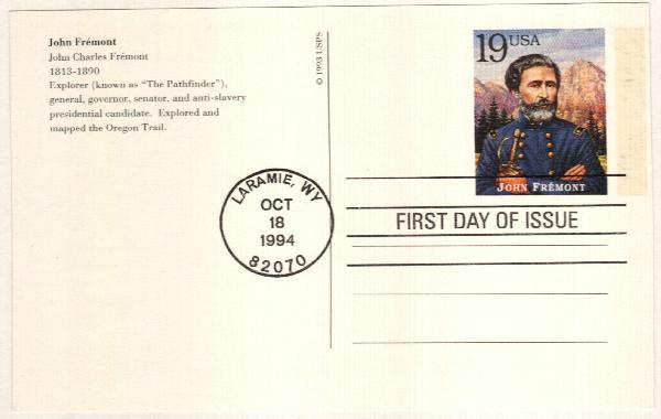1994 19c John Fremont Postal Card